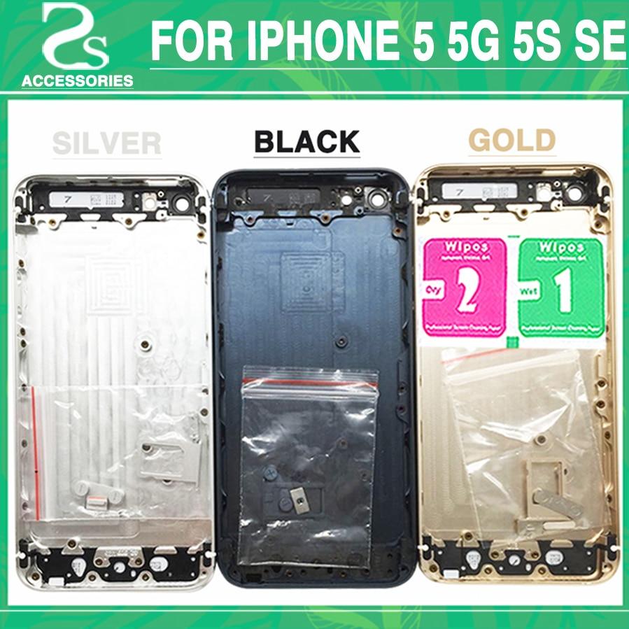 Nuevo 5G 5S de la cubierta de la batería para el iPhone 5 5G 5S SE Back Cover + marco medio chasis del bisel cubierta de la carcasa + IMEI