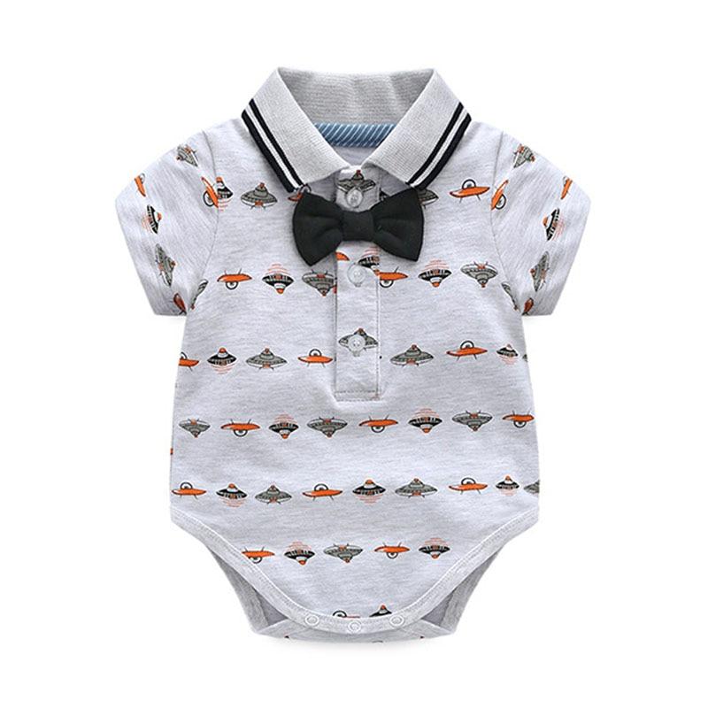 Toddler Boy Clothing Set Summer Newborn Baby Boys Bow Wedding Romper Suit Spaceship Print Set Infant