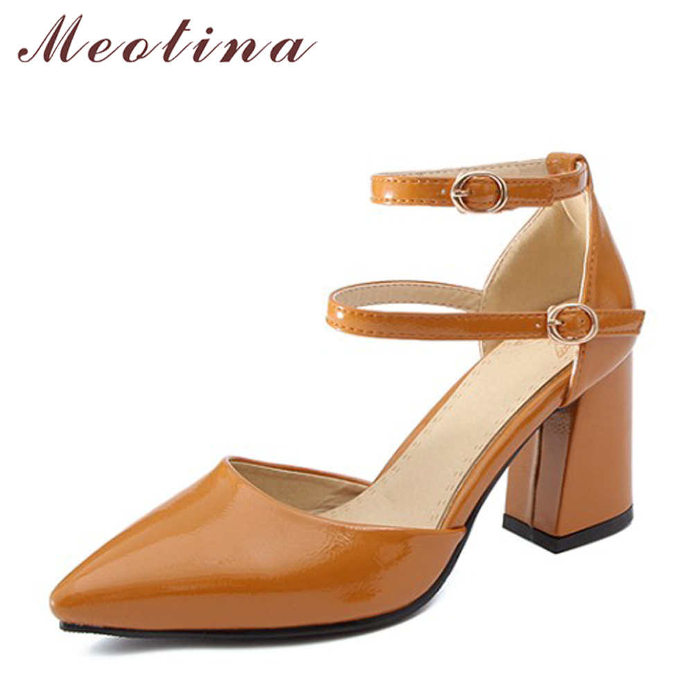 купить Meotina Women High Heels Pointed Toe Party Shoes Ankle Strap Thick Heel Pumps Footwear Elegant Shoes 2018 Fashion Big Size 33-46 по цене 1630.58 рублей