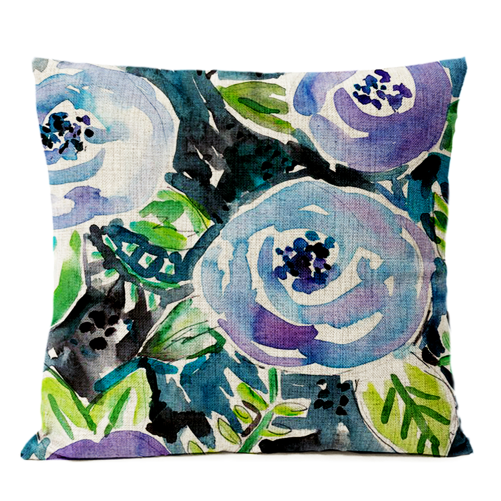 Nordic Watercolor Floral Bird Pillow Cover Red Flower Cushion Cover Home Decorative Throw Linen Pillowcase sofa Pillow Covers in Cushion Cover from Home Garden