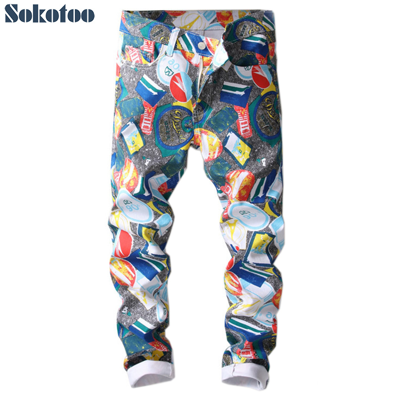 Sokotoo Men's colored pattern 3D printed   jeans   Fashion slim skinny geometric painted denim pants