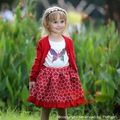 100% Cotton Cute Girls Red Dot Skirts Ruffle Hem For Spring Autumn Children Clothes Ready Stock Only Skirts ST80715-20W