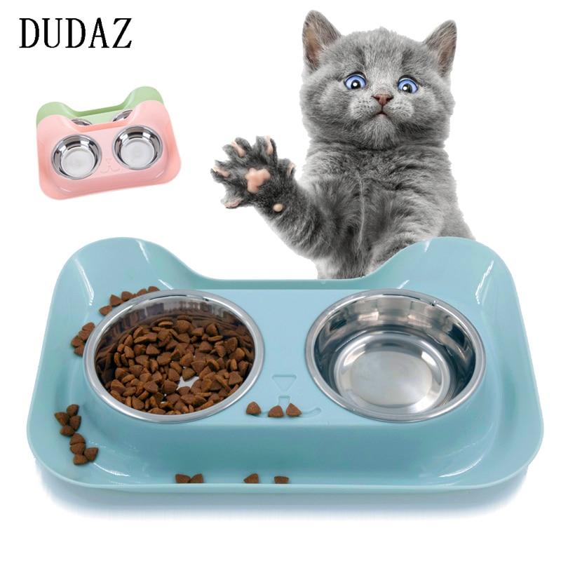 DUDA Splash prevention pet bowls table dog feeder stainless steel cat dog food bowl pet products