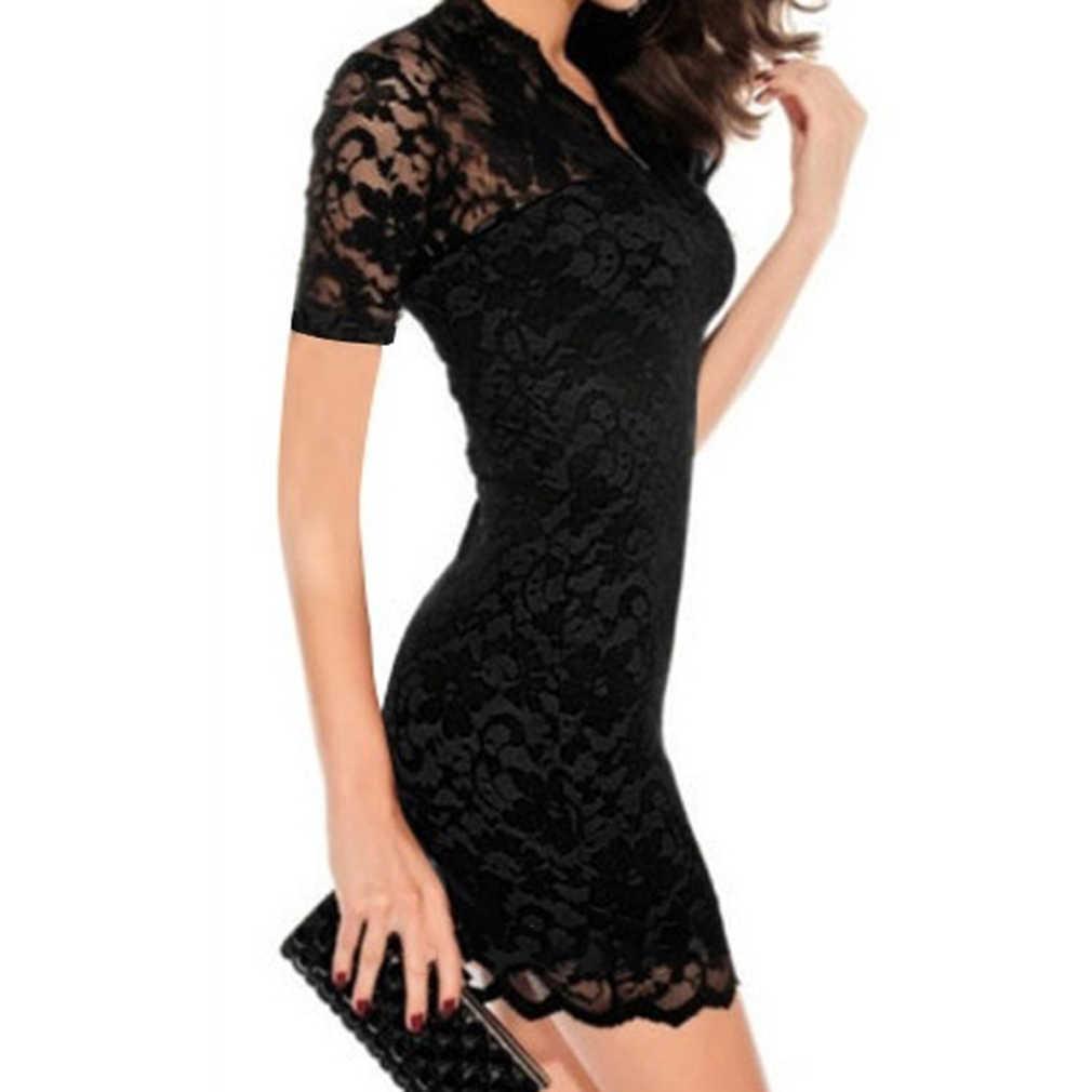 32cd5006d34 Черное кружевное платье с глубоким v-образным вырезом летнее офисное  женское кружевное тонкое облегающее платье
