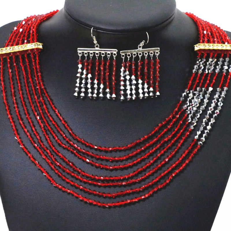 3375a26a Moda Komunikat Kobiety Biżuteria Ustaw 7 wiersze Naszyjnik Kolczyk Porady  Czerwony Srebrny-Kolor Szkła Kryształowego Koraliki Naszyjniki Kolczyki  B1908