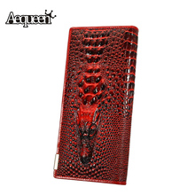 AEQUEEN 3D Crocodile Grain Women Wallets Leather Embossed Design New Lady Coin Purse Female Long Wallet Clutch Purses Carteira