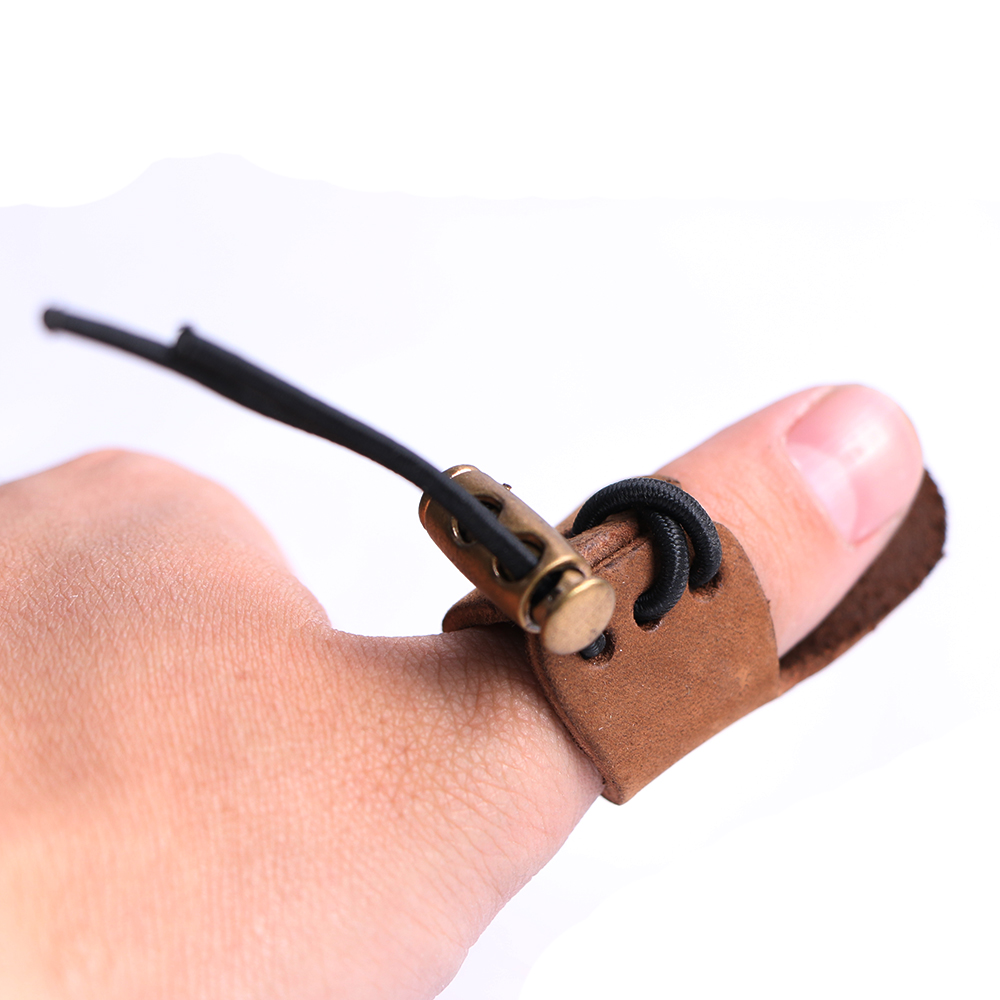 2pcs Leather Archery Pull Arrow Thumb Finger Protector Guard Ring Glove