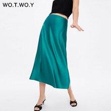 WOTWOY 2019 Hot Trend Satijn Rokken Vrouwen Hoge Taille Rits Slanke Losse A lijn Rokken Lady Roze Blauw Streetwear Rok