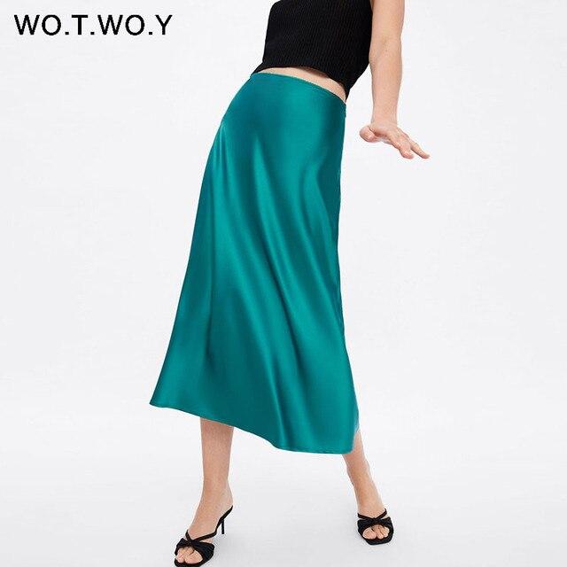 WOTWOY 2019 แนวโน้มร้อนซาตินกระโปรงผู้หญิงสูงเอว Zipper Slim หลวม A Line กระโปรง Lady Pink Blue Streetwear กระโปรง