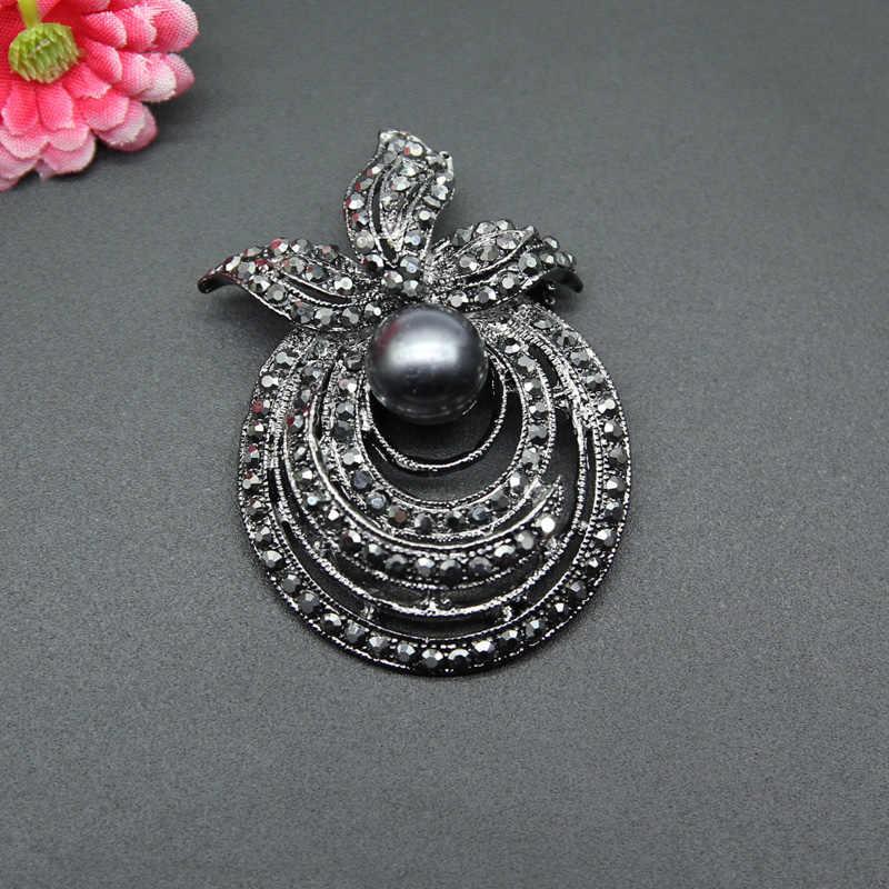 RHao colore nero perla Strass Cavità Del Fiore spille Corpetto per le Donne Degli Uomini collare del vestito perni di gioielli accessori Decorativi