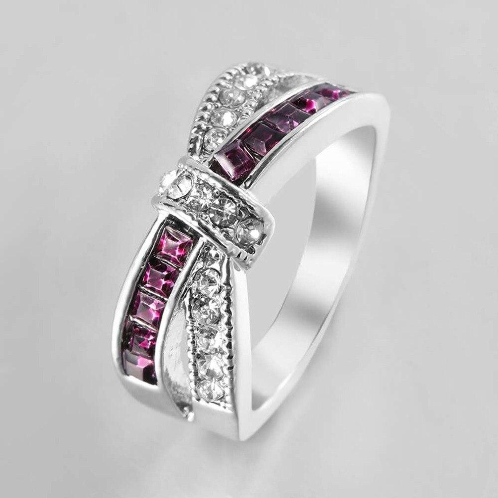 Meaningful Women Rings Beautiful Lady Cross Bowknot Decoration