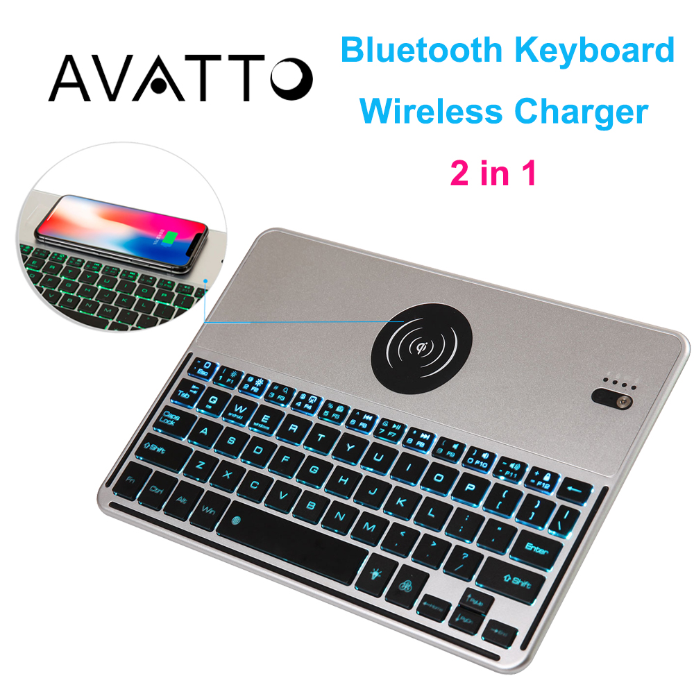 [AVATTO] 7 Color Backlit Bluetooth Wireless Mini Keyboard with Fast Charger for Android IOS Phone Tablet ipad Laptop PC TV Box russian original lenovo bluetooth keyboard for s6000 android tablet pc ios ipad universal model 2 4ghz with lithium batteries