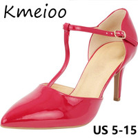 Kmeioo Women Shoes US Size 5 15 T Strap Sandals Ankle Strap Med Heels Pointed Toe Kitten Heels Red Sandal Causal Dress Shoes