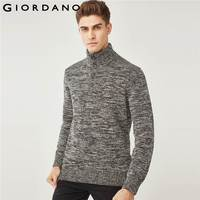 Giordano Men Sweater Men Pullovers Cable knit Jacquard Design Mockneck Sweater For Mens Ribbed Warm Chompas Hombre