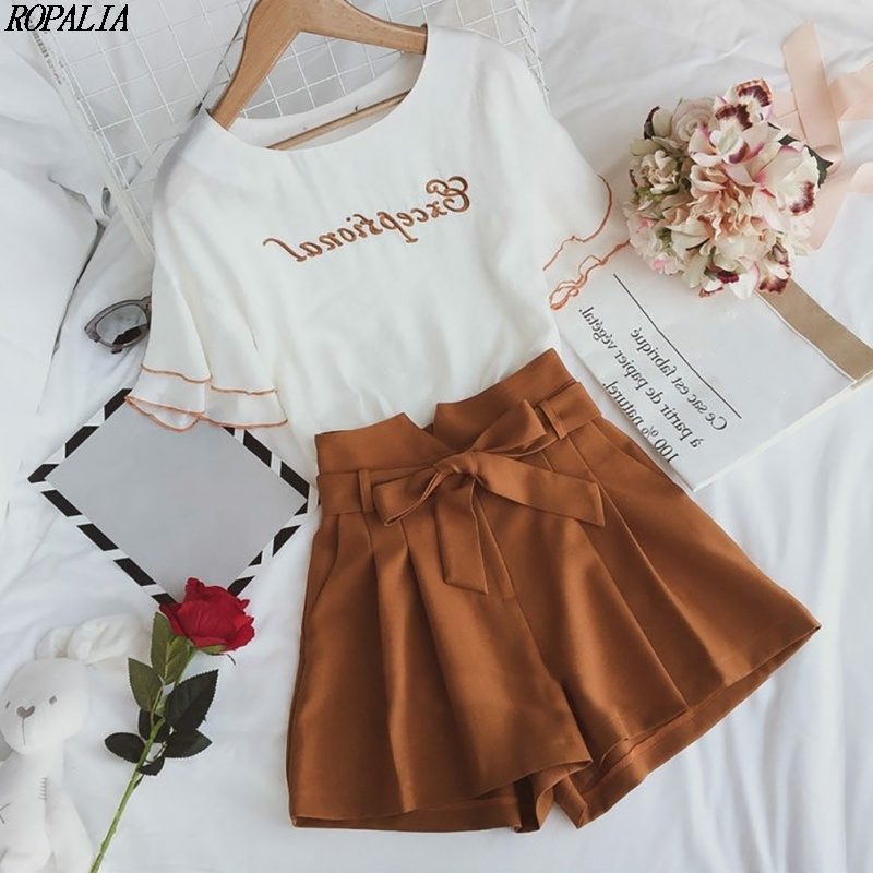 Fashion 2 Piece Set Women O-Neck Letter Print Short Petal Sleeve Top And Shorts Sets Sweet Elastic Waist+Drawstring