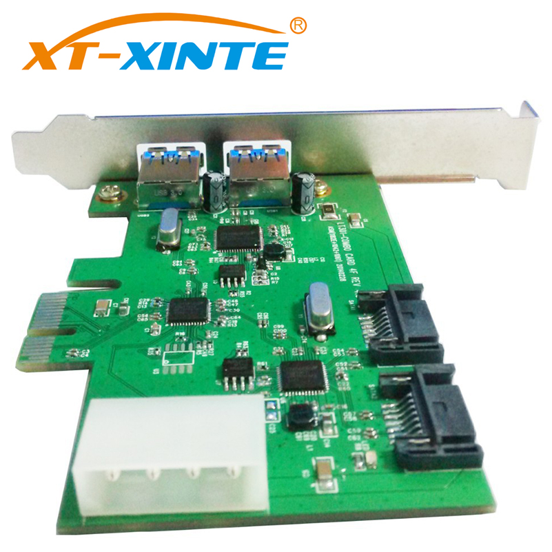 цена XT-XINTE LT301 Desktop PCI-E to 2 Ports USB 3.0 Expansion Card + 2-Port SATA 3.0 PCI-express Adapter Card Starter USB 3.0+SATA3