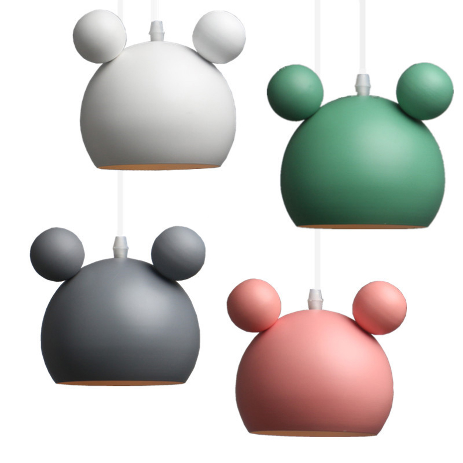 Personality Creative Panda Iron E27 Pendant Light Modern Macaron Simple Pendant Lamp For Apartment Bedroom Kitchen Restaurant