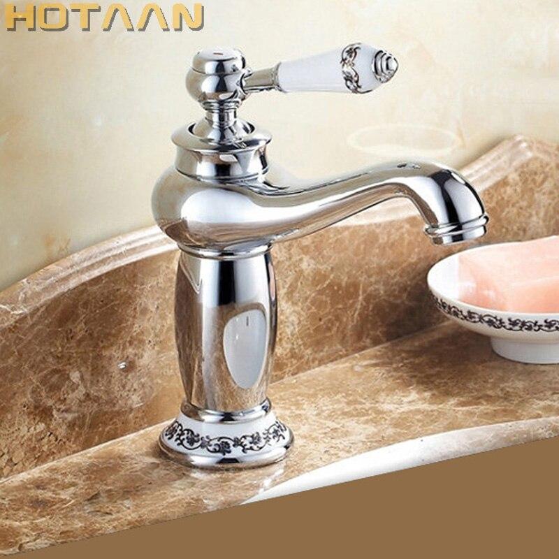 Frete grátis novo chrome banheiro torneira da bacia torneira da cozinha único punho misturadora de bronze banheiro misturador água
