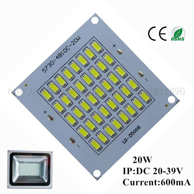 20pcs LED pcb floodlight pcb plate 20W63*67 2000-2200lm SMD5730 Light Source Panel for outdoor Landscape Street light Wall lamp