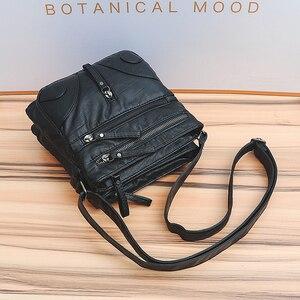 Image 4 - Annmouler Fashion Women Crossbody Bag Soft Washed Leather Purse Handbag Pu Leather Shoulder Bag Small Black Messenger Bag