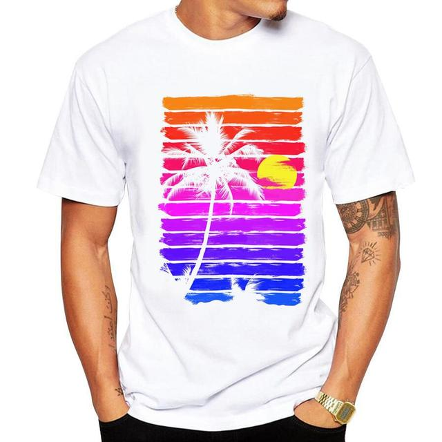 Casual men's t-shirt new short-sleeved Summer Retro Style Synthwave 3