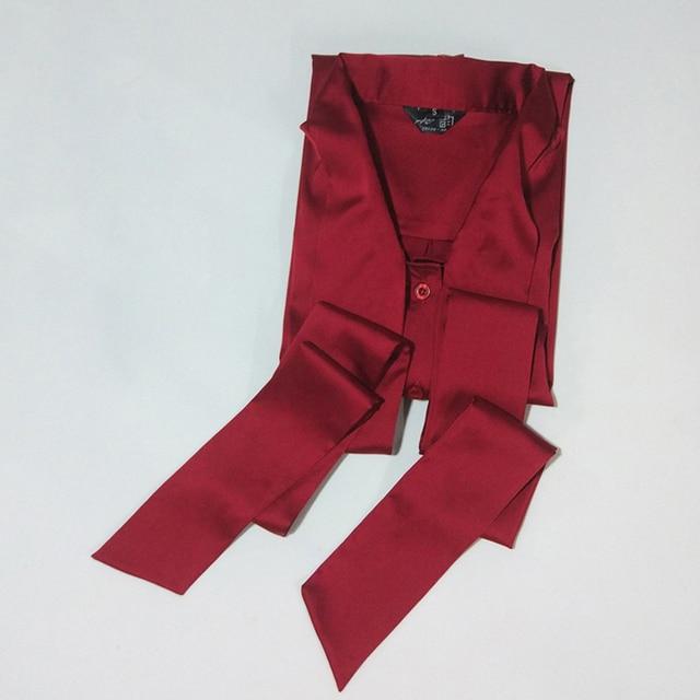 3b08d713e8fb2 New Satin Shirt Women Long sleeve elegant bow tie collar silk Blouses women  work wear uniform