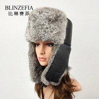 Winter Real Sheep Leather with Silver Fox Fur Aviation Fur Cap Warm Russian Women Men Ears Cover Bomber Hat Ushanka BZ6005