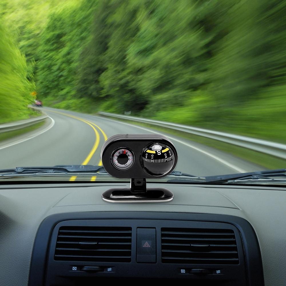 Car Ornaments Compass Thermometer 2 in 1 Dashboard Ball Guide Interior