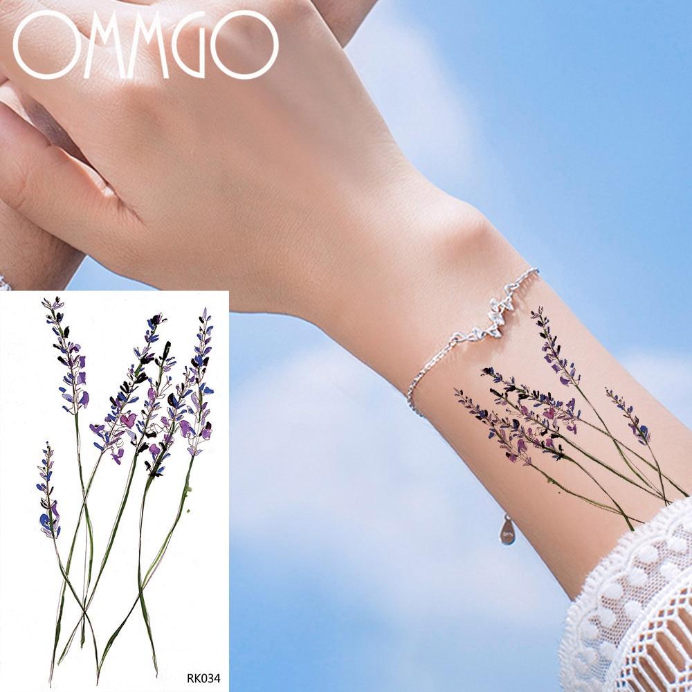 OMMGO Small Lavender Watercolor Temporary Kids Tattoo Sticker Flower Custom Tattoos Body Art Arm Fake Tatoo Cute Waterproof