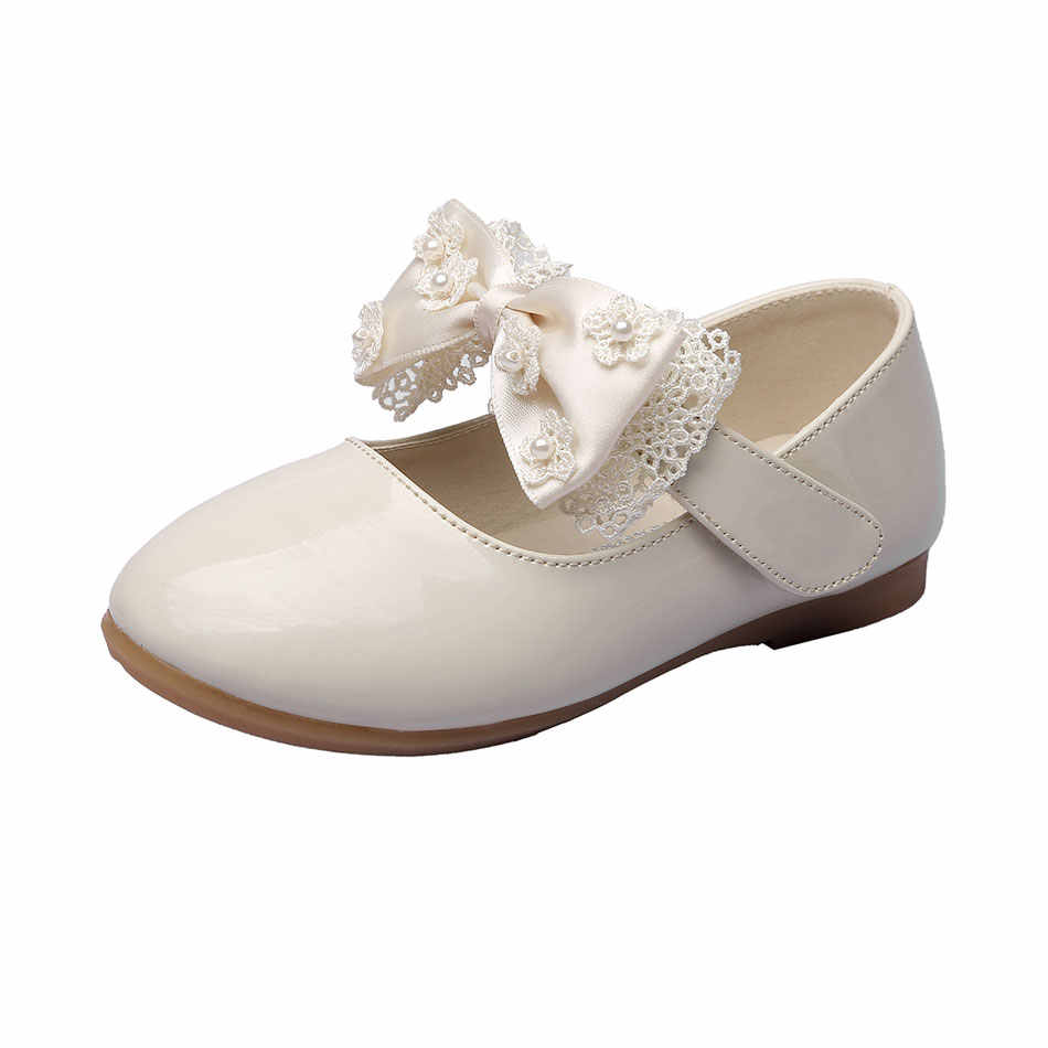 MSMAX Children Shoes Lace Butterfly-Knot Pu Leather Kids School Wedding  Shoes Mary Janes Girls 68f642b86afc
