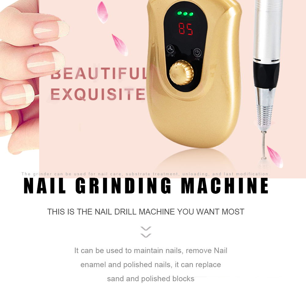 30000RPM Gold Battery operated Compact Machine professional Electric Nail Drill Manicure Machine Can hang on the