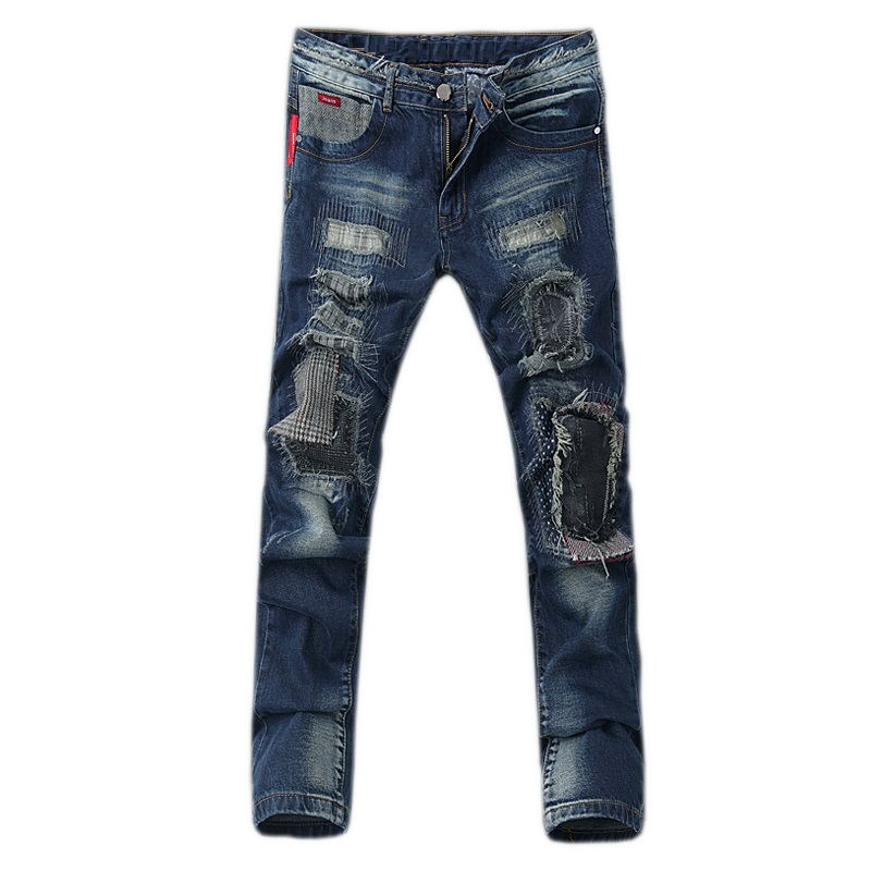 ФОТО 2016 New arrival high quality men's cotton blue hole casual jeans,jeans men