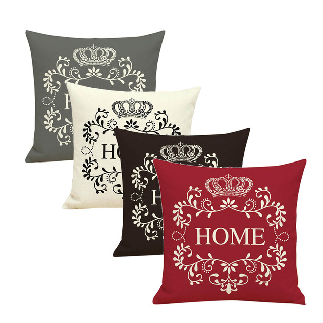 Brown Grey Red White Home Printed Throw Pillow Case Sofa Bed Decor Waist Mat Cushion Cover 45 45cm Flax Pillowcase