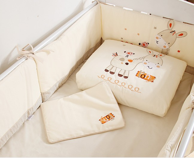 Promotion! 7PCS embroidered Crib Bedding Baby Bedding Set Cot Quilt Cot Bumper ,(2bumper+duvet+sheet+pillow) promotion 7pcs embroidered baby bedding set crib bedding set comfortable baby bumper set 2bumper duvet sheet pillow