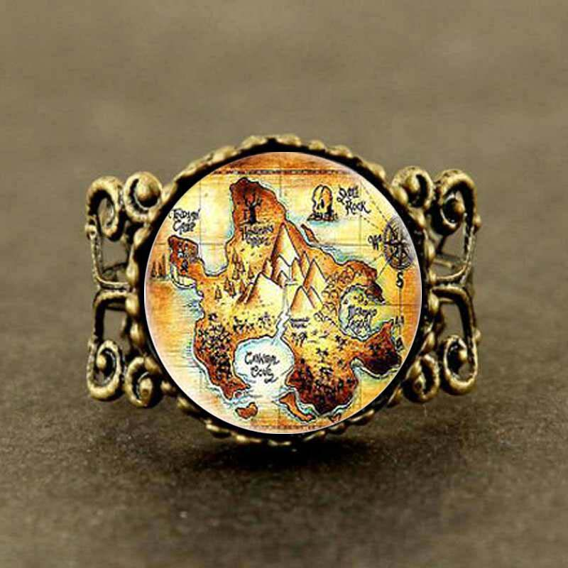 Steampunk US Movie Peter Pan Neverland map Ring 1pcs/lot Glass mens jewelry dr who cosplay locket