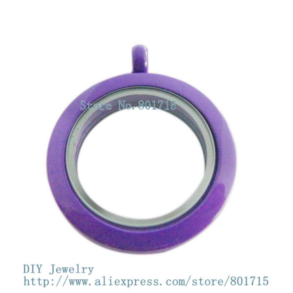 Como presente Novos Estilos roxo liso pintura 30mm Rodada torção rosca parafuso topo medalhão encantos fit pode fazer colar keychain