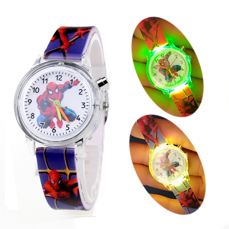 Colorful Glow Light Source Spiderman Children Watches Kids Flash Child Watch Girls Boys Baby Birthday Gift Clock