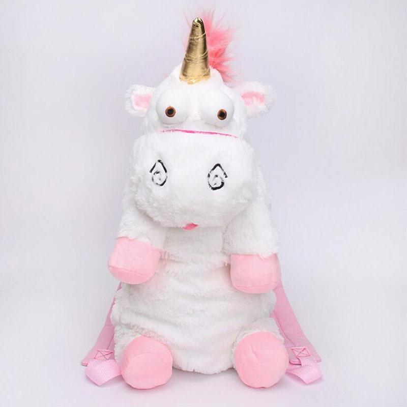 45cm And 60cm Fluffy Unicorn Plush Shoulders Bag Animal Soft Stuffed Plush Backpack Bag For Children Gift