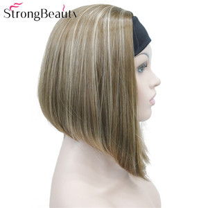 Image 2 - StrongBeauty Half Ladies 3/4 Wig With Headband Straight Synthetic Capless Hair Women Wigs 10 Colors
