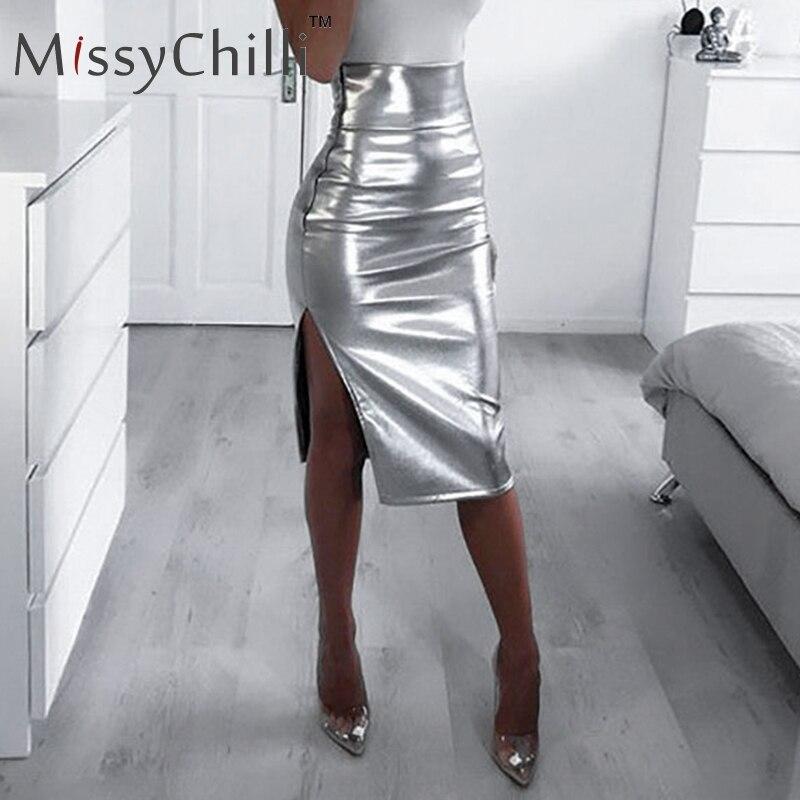 MissyChilli Sexy Bodycon Push Up Split High Waist Skirt Women Casual Summer Skirt Spring Female Elegnt Party Bottom Silver Skirt