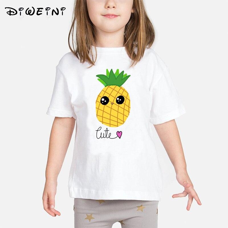 2019 Summer Funny Fruit Pineapple Print t-shirt Girls Casual O-neck Tee Tops Kids t shirt Clothing tshirts