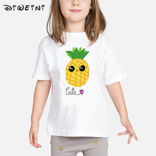 цена на 2019 Summer Funny Fruit Pineapple Print t-shirt Girls Casual O-neck Tee Tops Kids t shirt Clothing Pineapple tshirts