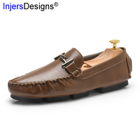 New Arrival Men Driving Shoes Fashion Metal Loafers Slip On Breathable Flats Casual Boat Shoes Men Soft Moccasins Big Size 37 46