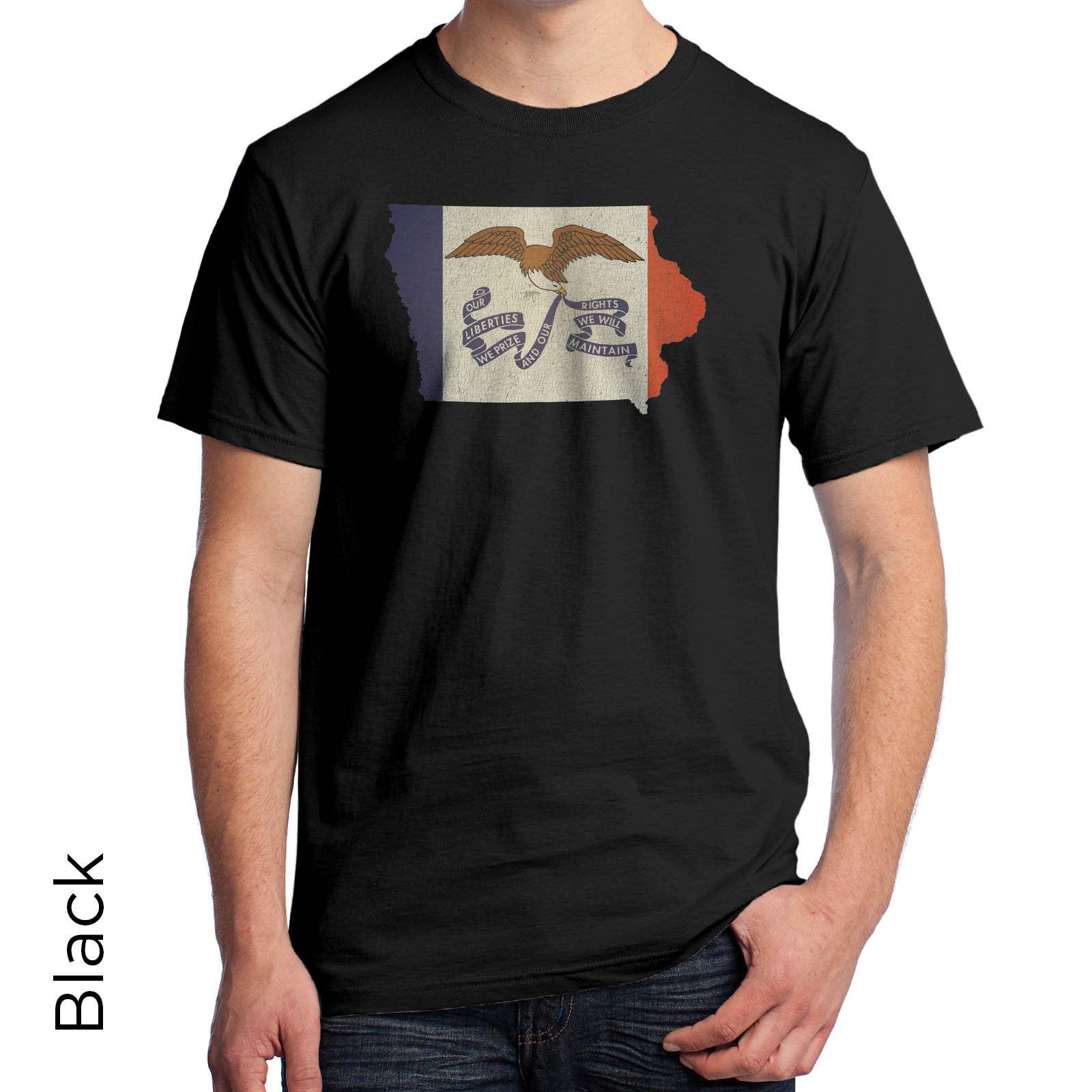 Iowa State Flag Vintage T-Shirt Des Moines Cedar Rapids Davenport Sioux City S39