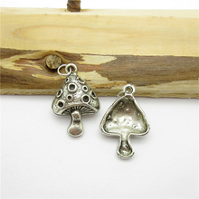 35PCS (25*18mm )Antique Silver Mushroom Charms pendant fit European bracelet made diy Pendants for jewelry making