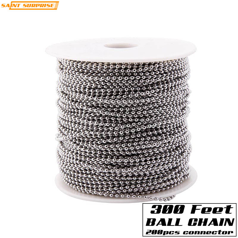 300 Feet 2.4mm Stainless Steel Bead Ball Chain Bulk Spool With 200pcs Free Connector For Jewelry DIY Making Tag Accessories