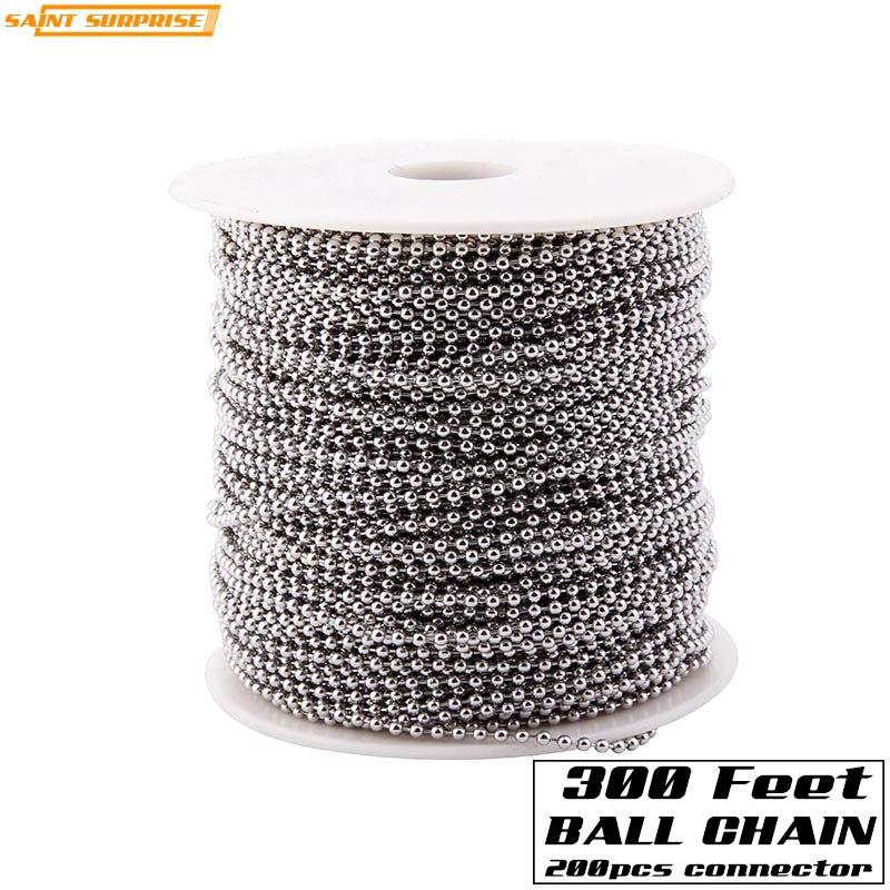 300 pieds 2.4mm acier inoxydable perle boule chaîne en vrac bobine avec 200 pièces connecteur gratuit pour bijoux bricolage faisant Tag accessoires