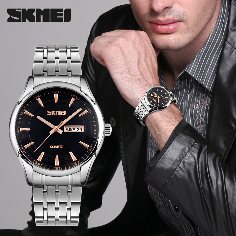 6ac88ba280b SKMEI Mens Relógios Top Marca de Luxo de Aço Inoxidável relógio de Pulso de Quartzo  Relógio