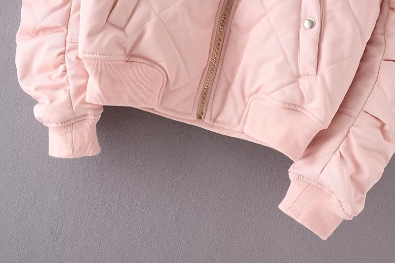Bella Philosophy autumn winter quilting bomber jacket women coat zipper long sleeve winter jacket cotton-padded pink outwears