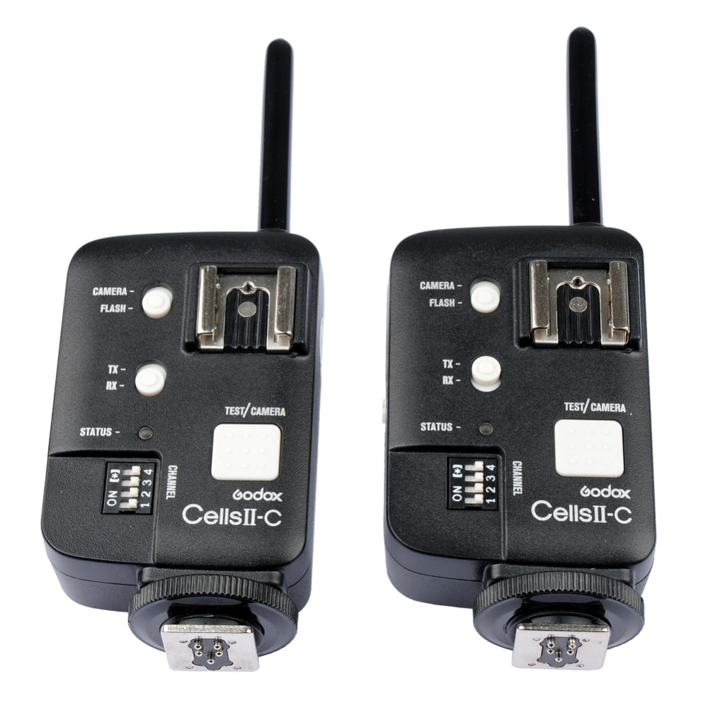 2pcs GODOX Cells II-C Wireless Flash Speedlite Trigger Transceiver Kit for Canon 6D 7D 5D Mark II 5D Mark III 60D 70D 650D 2pcs godox cells ii 1 8000s wireless transceiver trigger kit for canon eos camera speedlite and studio flashes